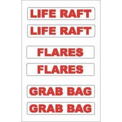 Liferaft/Flares/Grab Bag Sticker