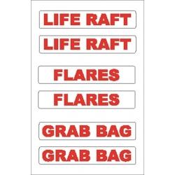 Liferaft/Flares/Grab Bag Sticker