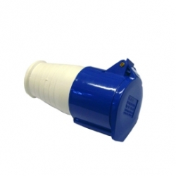32 Amp Female Connector 220- 250VAC 2P+E IP44 Blue