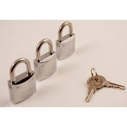 Set of 3 Marine Padlocks AISI 316 ISO 3768 30mm
