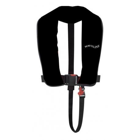 165N ISO Black Manual LifeJacket With Crutch Strap