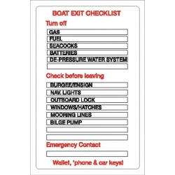 Boat Exit Check List Sticker
